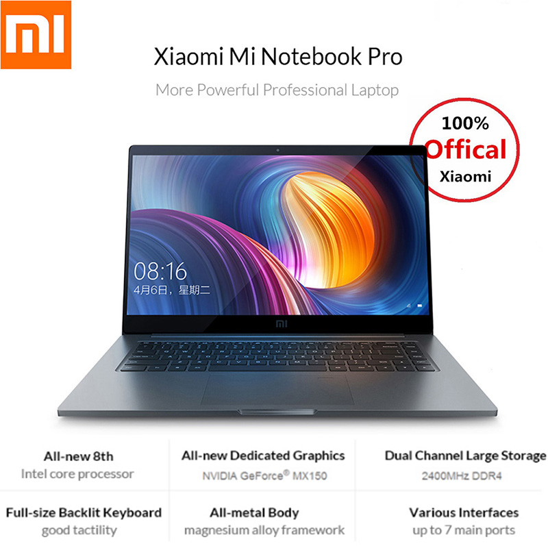 Xiao mi mi Portable Pro 15.6 pouce 16:9 1920*1080 IPS 256 gb SSD Windows 10 Intel Core i5 /i7 Quad Core Ordinateur Portable D'empreintes Digitales Double WiFi