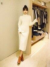 Korea Winter Long Sleeve Knit Turtleneck Sweater Slim gorgeous beautiful women  oversize loose leisure big bust size Dress