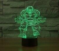 Cartoon character hulk 3D night light USB Energy saving table Lamp