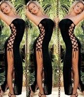 2016 Nowa seksowna bielizna gorące czarne koronki bez ramiączek Side podział długa sukienka bielizna erotyczna satin sexy babydoll kostiumy kobiet