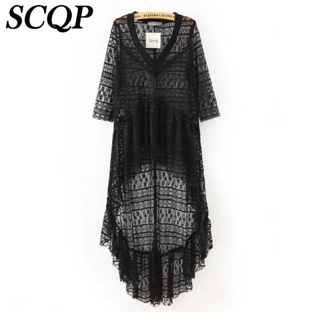 Summer Style Solid Long Maxi Dress 2015 Fashion Lace Beach Dress Female Bohemian V-Neck White Black Vestidos Brand Lace Dresses