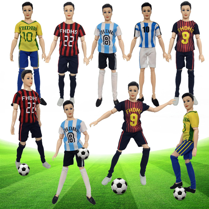 Male Football Player Doll Toy Set Athlete Doll 14 Flexible Joints Simulation World Cup Soccer Players with Clothes and Shoes