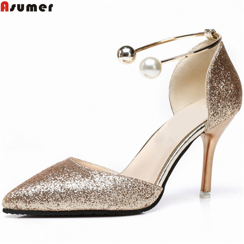 ASUMER 2018 fashion new arrival women pumps pointed toe ladies shoes spring autumn single shoes elegant super high heels shoes new 2017 spring summer women shoes pointed toe high quality brand fashion womens flats ladies plus size 41 sweet flock t179