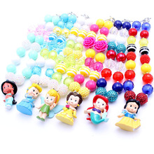 MSH.SUN 1set Hot sale Cute Princess Kid Chunky Necklace DIY Bubblegum Bead Chunky Necklace Jewelry For Children Girls BN009