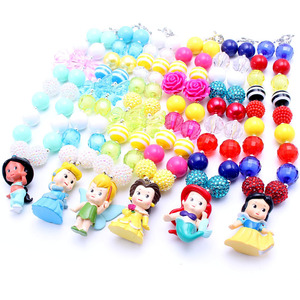 Image 1 - MSH.SUN 1set Hot sale Cute Princess Kid Chunky Necklace DIY Bubblegum Bead Chunky Necklace Jewelry For Children Girls BN009