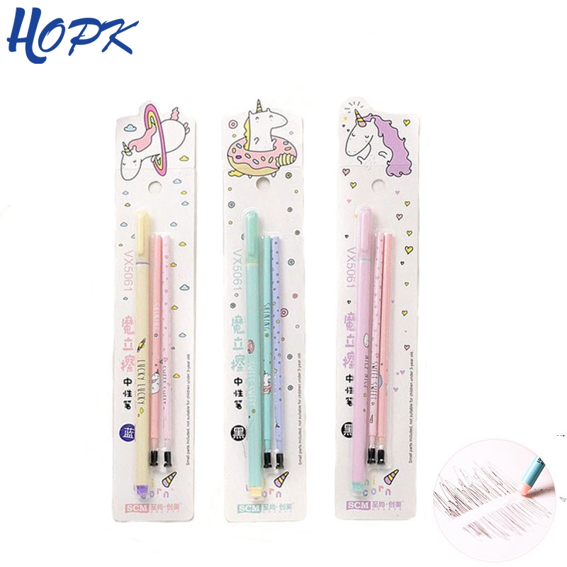 HOPK Unicorn Cute Erasable Pen Blue / Black / Ink Blue Magic Pen 0.5mm Gel Pen Student Writing Stationery For School Supply Gift 9077 cute fun giraffe style 0 5mm blue ink ball point pen gray pink black