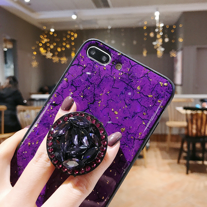 Epoxy Gold Foil Gem Case For Huawei And Honor Phones With Ring Stand Holder Lanyard Cover 5