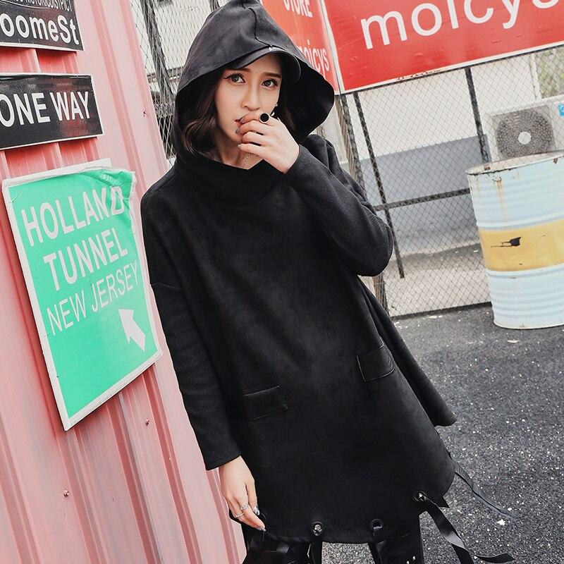 Hippie Casual Daim Gland Lâche Harajuku Pulls Velours Taille Petit Épais Boho Capuche En À Noir Femmes Grande Ami Streetwear qE0C0dw