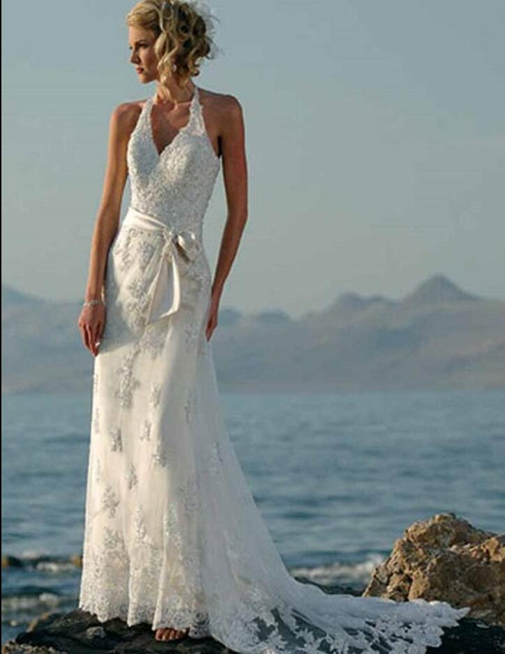 beaded lace appliques tulle vintage beach wedding dresses 2016 halter informal boho bridal gowns sexy vestido