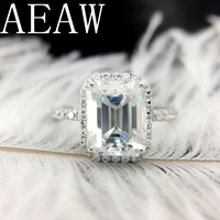 Solid 14K White Gold 1ctw Moissanite DF Color Emerald Baguette Ring Moissanite Accent luxury Fine gold jewelry for Women