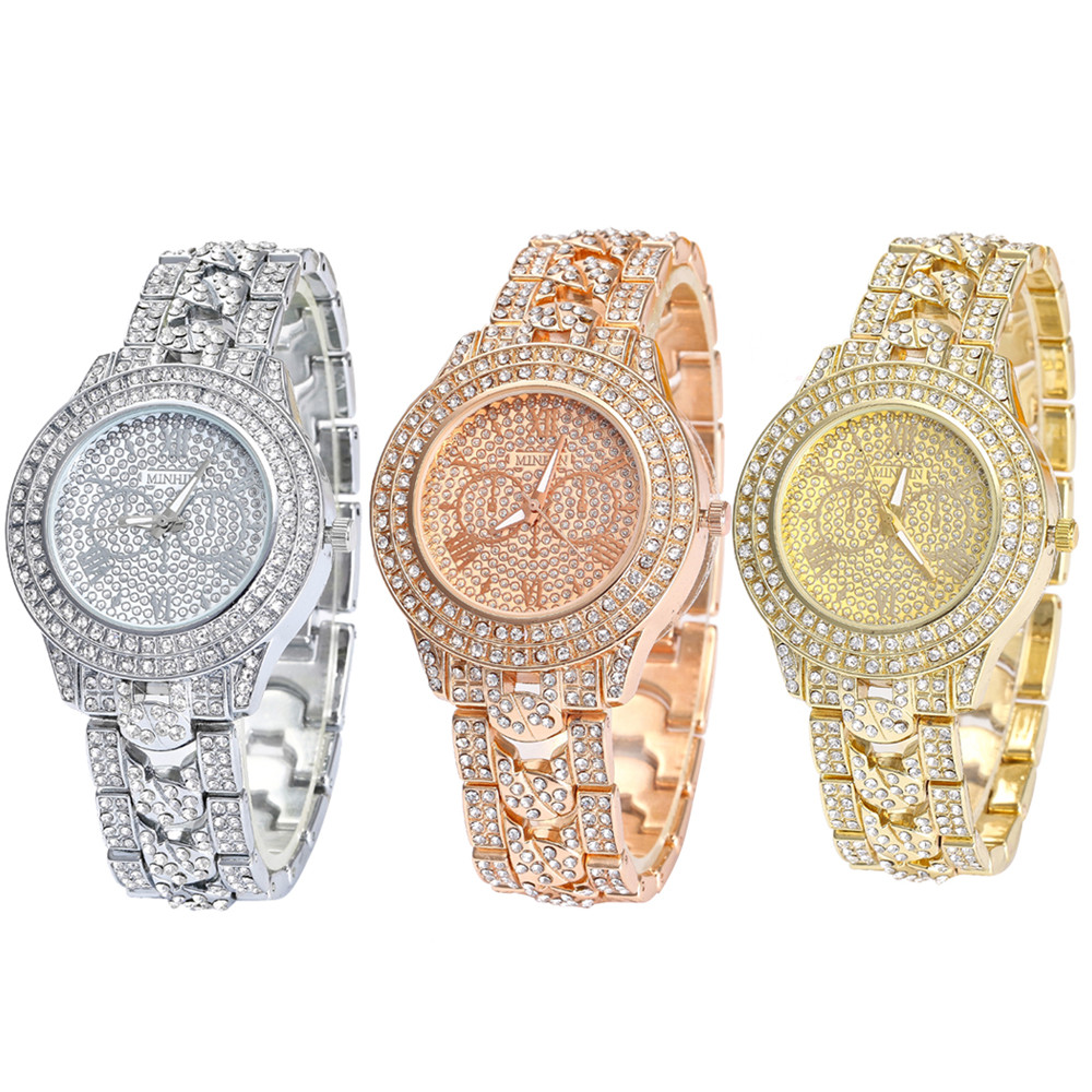Bracelet Watch Zegarki Marque-De-Luxe Femme Full-Diamond Movement Quartz Round Montre title=
