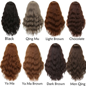 MISS WIG Long Wavy Wigs for Black Women African American Synthetic Hair Grey Brown Wigs with Bangs Heat Resistant Wig 6