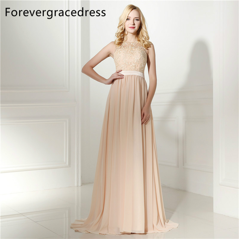 Forevergracedress Elegant Cheap   Bridesmaid     Dress   New Arrival Long Lace Chiffon Wedding Party Gown Plus Size Custom Made