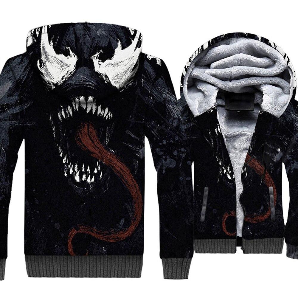 Venomm Thick Hoodie Superhero Spider 3D Printed Man Women Edward Brock Sweatshirt Winter Warm Zipper Hooded Jacket Tracksuits