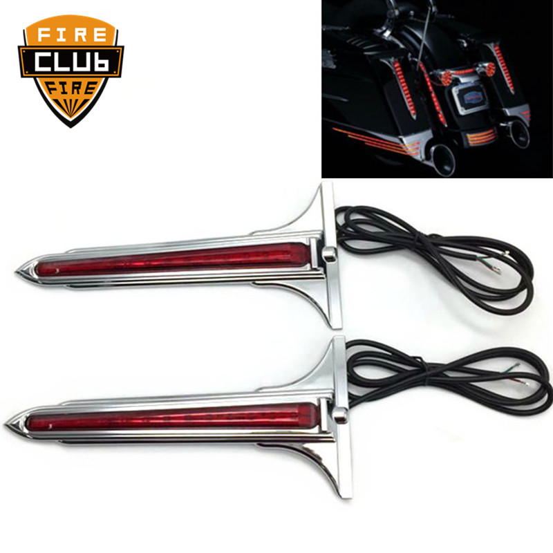 For Harley Touring 1993-2013 2012 Motorcycle Chrome Wedge LED Brake Tail Light Rear Saddlebag Accents Lights With Smoke Lens