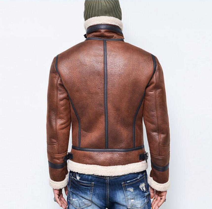 2018 New Winter Mens Leather Jacket locomotive Casual Thickening warm coat Luxury male slim zipper coat plus size stage costumes