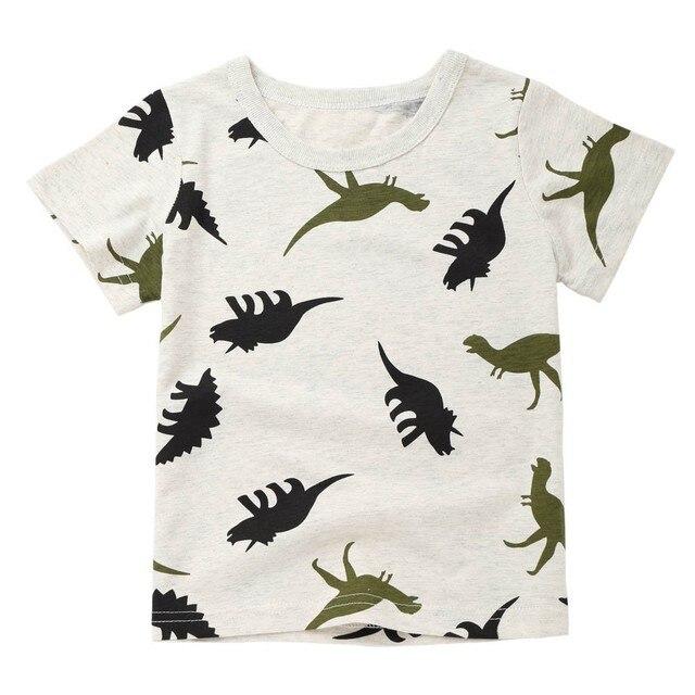 2018 חדש אופנה קריקטורה ילדי תינוק ילד בני קריקטורה דינוזאור הדפסת כיס חולצה חולצות חולצות טי dropshipping #1226