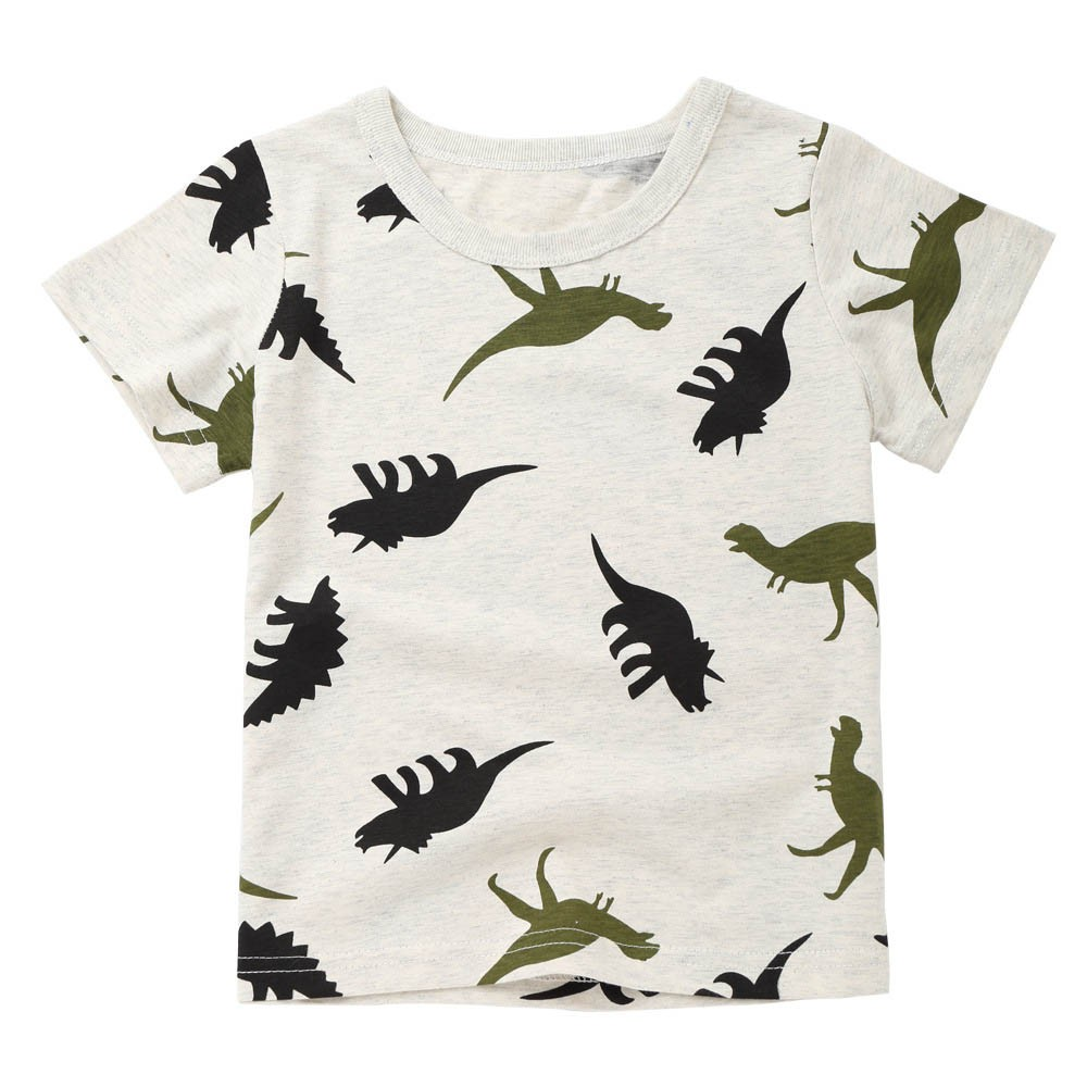 Ropa de Ni/ño Camisetas de Manga Corta Blusa de Camiseta de Impresi/ón de Dibujos Animados Dinosaurios,Blanco Sencillo Vida Camiseta para Beb/és