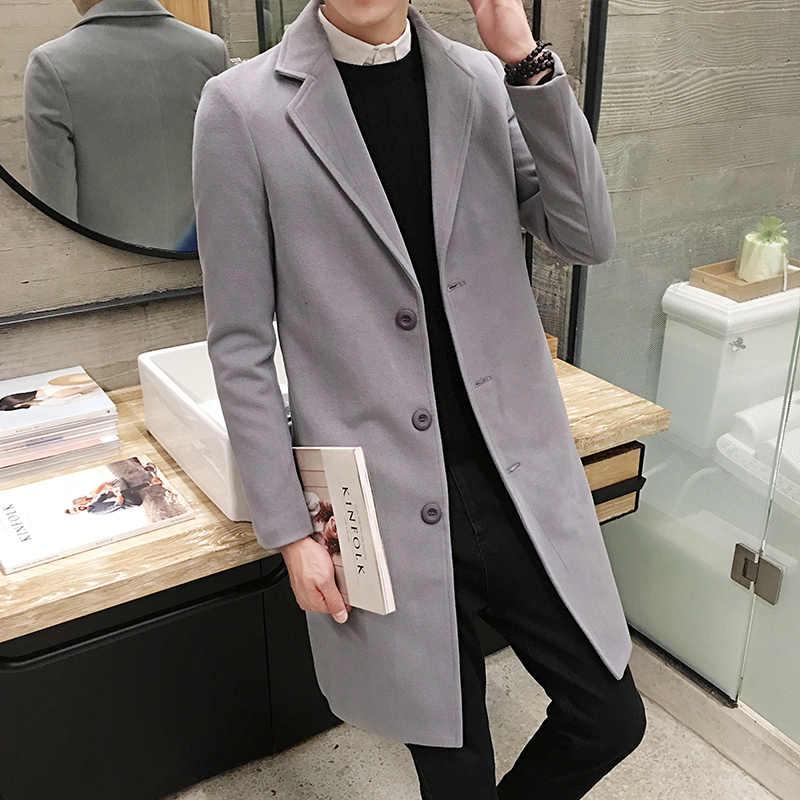 להתחמם בחורף כותנה תעלת מעיל גברים בינוני ארוך מעיל יחיד חזה דש מעיל רוח