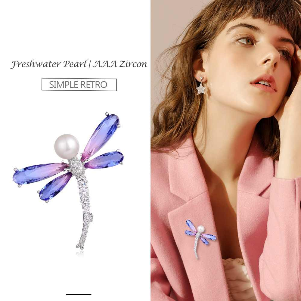 Hongye Women Natural Freshwater Pearl Brooches Butterfly Sparkly Pin large Silver Gold AAA CZ Vintage Brooch Jewelry Touraline