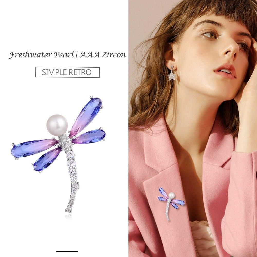 Hongye feminino natural de água doce pérola broches borboleta sparkly pino grande prata ouro aaa cz vintage broche jóias touraline