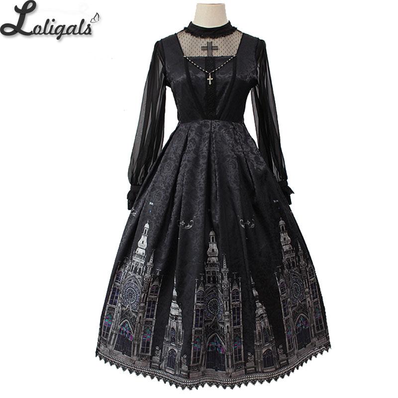 Gothic Lolita JSK Dress Church Printed Sleeveless Midi Party Dress by Alice Girl Pre order