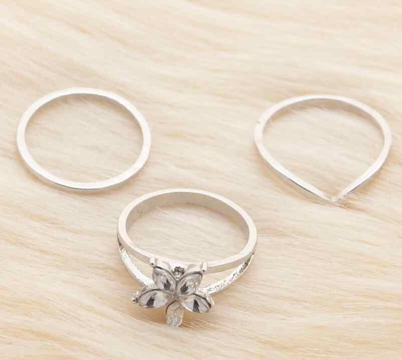 ใหม่ 3 ชิ้น/เซ็ต Retro โบฮีเมียเท้าแหวนหญิงแกะสลักดอกไม้เงินสี Toe แหวนผู้หญิงเครื่องประดับ Boho Beach Drop การจัดส่ง