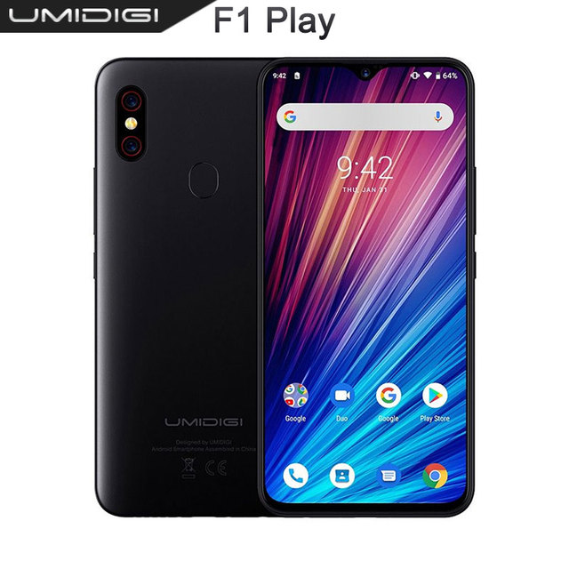 "UMIDIGI F1 Play 6GB RAM 64GB ROM 6.3"" FHD Global Version Smartphone Dual 4G 48MP+8MP+16MP 5150mAh Android 9.0 Mobile Phone"