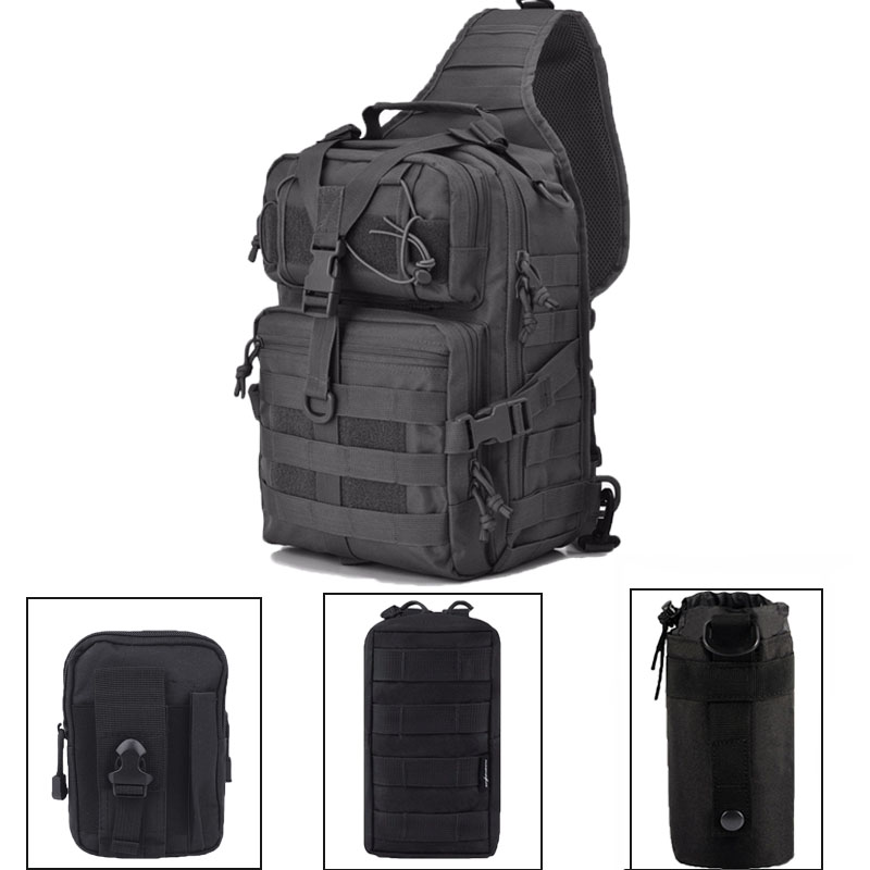 Military Tactical Sling Backpack 20L Molle Utility Waterproof With Bottle Pouch Army EDC Rucksack For Hunting Hiking Climbing