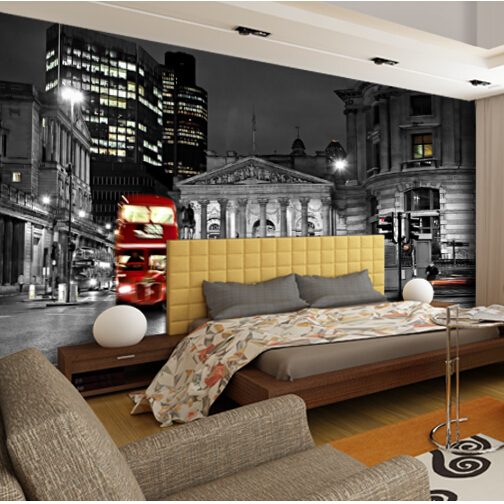 Black&white 5d Papel Murals 3d Wallpaper City building Red Bus 3d Wall Photo Mural for Bedroom Background 3d Wall Mural decor