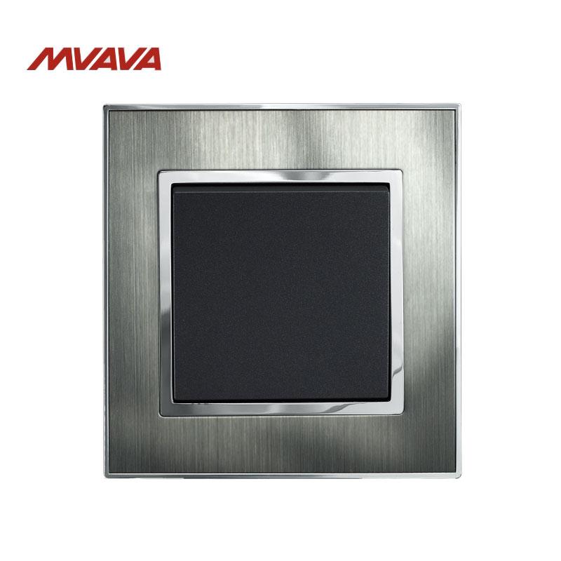 MVAVA 1 Gang 1-vejs lampekontrolkontakt EU / UK Standard sølv - Belysningstilbehør
