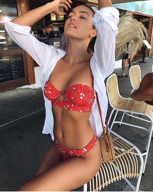 2018 nuevo bañador Sexy bikini conjunto push up traje de baño mujer bikini traje de baño ropa de baño biquini estampado trikini