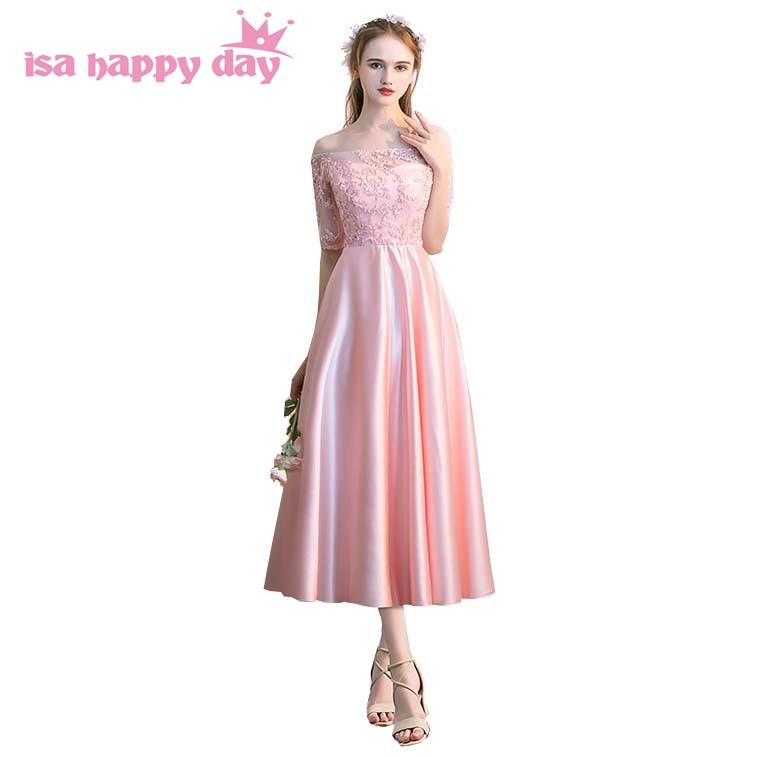 ⑦Vestidos Elegantes satén rosa de encaje dama de honor formal corto ...