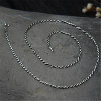 2mm 925 Sterling Silver Rope Chain Necklace Statement S925 Silver Twisted Chain Necklace 45cm 50cm 55cm