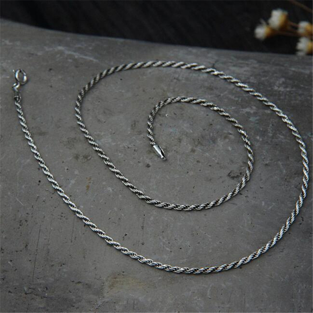 bca4dfb18c9 2mm 925 Sterling Silver Rope Chain Necklace Statement S925 Silver Twisted Chain  Necklace 45cm 50cm 55cm 60cm 65cm 70cm 75cm