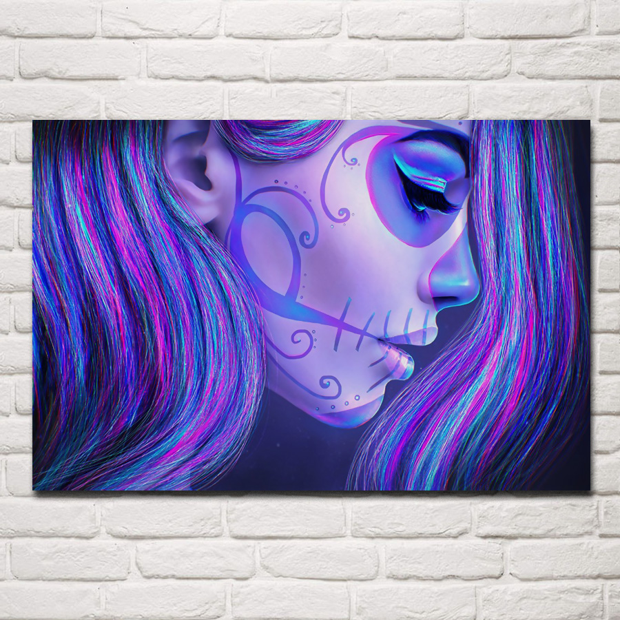 Us 767 36 Offtattoo Skull Girl Makeup Hair Day Of Dead Face Sugar Skull Art Death Beauty Fm60 Home Wall Modern Art Decor Wood Frame Poster In