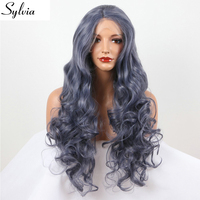 Sylvia Titanium Grey Body Wave Curly Wave Hairstyle Synthetic Lace Front Wig Blue Glueless Heat Resistant