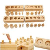 Knobbed Cylinder Blocks Family Set Wooden Montessori Educational Toy Block Model Gift For Children