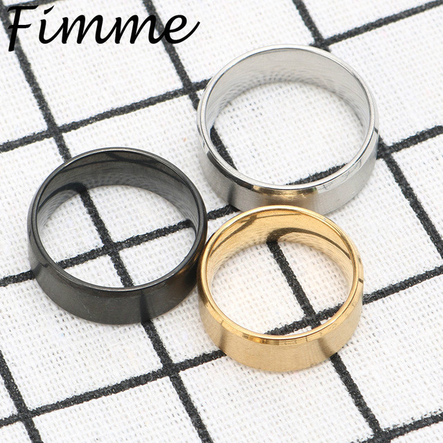 Simple Design Titanium Band Brushed Wedding Ring Silver Gold Black Color Rings S