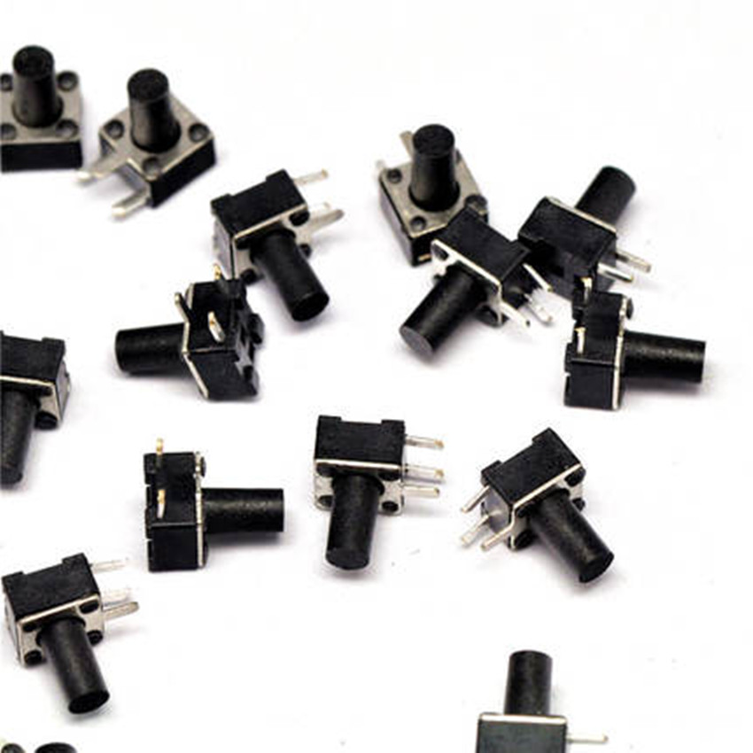 50pcs/lot 4.5x4.5x7MM Right Angle 3 Pin Side Tactile Tact Push Button Micro Switch Direct Plug-in Self-reset DIP