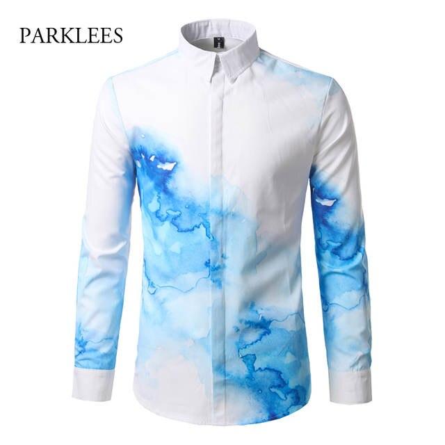 0cb91e3e7533 € 25.28 |Camisa azul de tinta para hombre/mujer 2017 diseño de marca  Camisas de vestir para hombre de manga larga ajustada de colores Camisas ...
