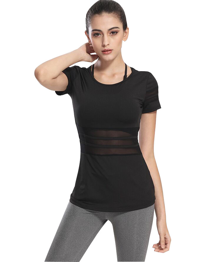 Compression Mesh Waist Yoga T Shirt Quick Dry Sports Fitness Shirt Running T Shirts Women Gym -4645