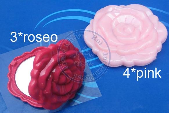 Foldable Portable Pocket Plastic Mirror Vintage Flower