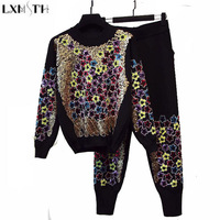 LXMSTH Spring Autumn New 2018 Flower Designer Runway Sequin Suit Woman Long Sleeve Two Piece Set