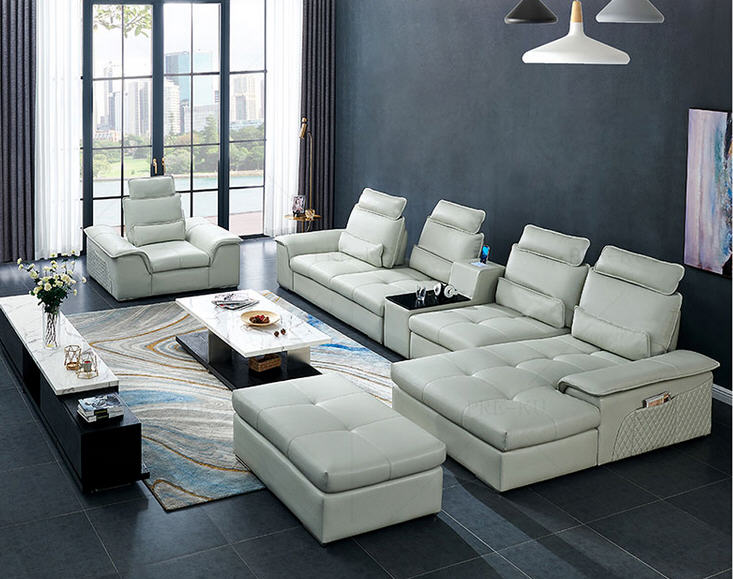 real genuine leather sectional sofa recliner Living Room ...