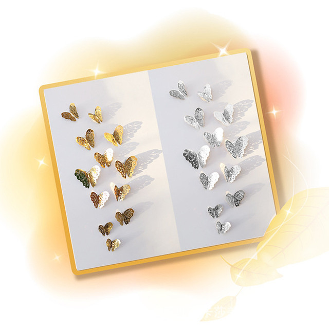 Hot Selling Creative 12 Pcs 3D Hollow Wall Stickers Butterfly Fridge for Home Decoration New Funny Animals Decor Sticker mural