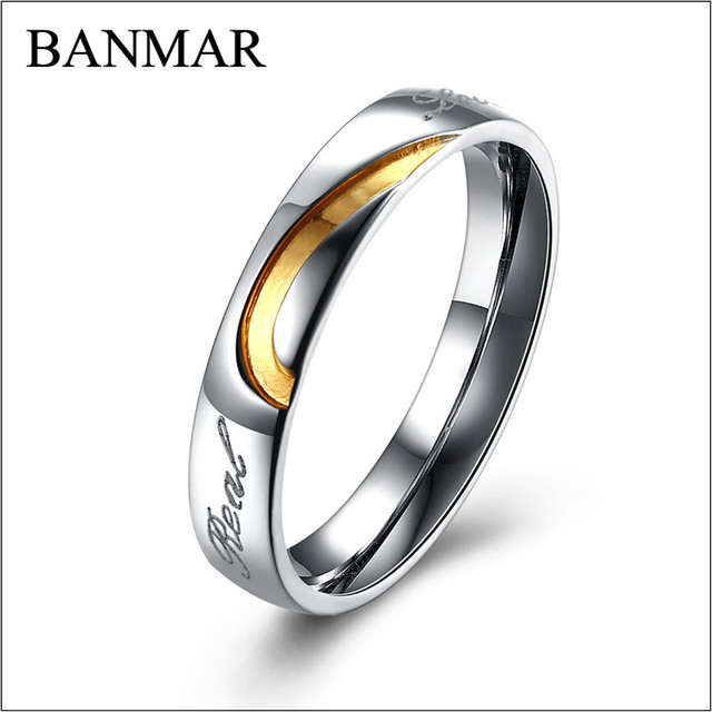 BANMAR Female Male Classic GoldBlack Color Heart Shaped Stainless