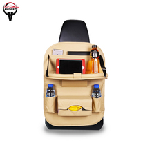 Folding car seat back bag organizer car seat cover seat storage bag car Interior Accessories Stowing Tidying leather material e four car back seat rubbish bag leather pp waterproof bag for car stowing tidying organizer accessories luxury trash tin cars