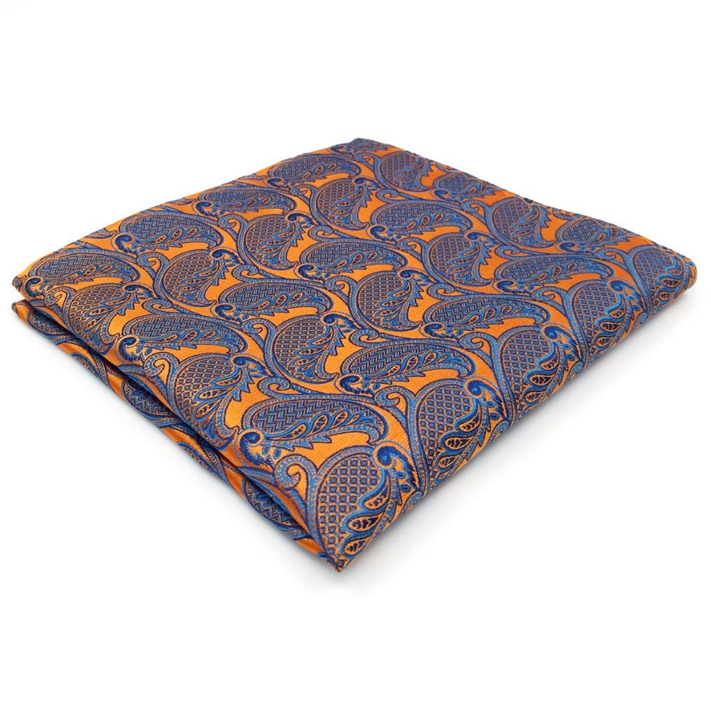 UH26 Orange Paisley Mens Pocket Square Silk Jacquard Woven Brand New Hanky Wedding 12.6