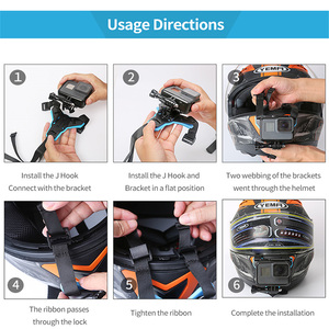 Image 5 - Motorcycle Helmet Chin Bracket For Gopro SJCAM Xiaomi Yi Action Camera and iPhone Samsung Huawei Mount Phone holder Accessories